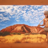 """""""Uluru"""", 55x94, olio su legno, 2015."""