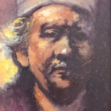 """Rembrandt und bier"", 35x25, olio su cartone telato, 2014."